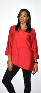 1420 Red Inverted Seam Diagonal Cut Top