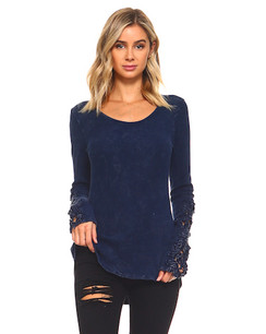60004 Navy Crystal Washed Top