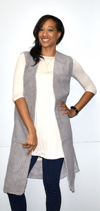 10555 Silver Grey Faux Fur Lined Long Vest