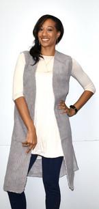 10555 Silver Grey Faux Fur Lined Long Vest