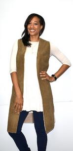 10555 Olive Faux Fur Lined Long Vest