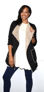 10571 Black Fur Trimmed Lined Jacket