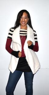 10348 White Short Fur Like Vest