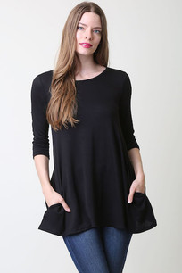 36711 Black Criss Crossed Back Poly Rayon Pocket Top