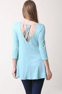 36711 Turq Criss Crossed Back Poly Rayon Pocket Top