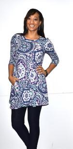21021 Blue DTY Fabric Tunic Top