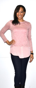 2229 Pink Layered Button Top