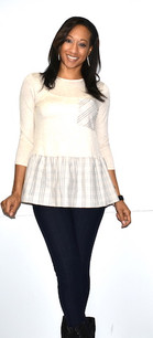 2244 Off White/Grey Plaid Trimmed Top