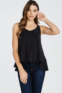 160 Black Ruffled Back Tank Top