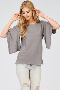 142 Grey Slit Open Sleeved Top