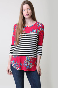 3705 Black/White Horizontal Striped Top