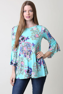 35933 Mint Floral Bell Sleeve Top