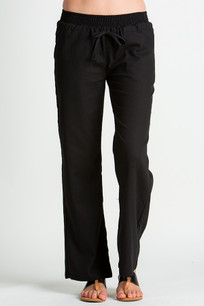 24833 Black Linen Pocket Drawstring Pant