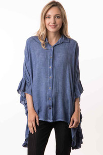 15491 Denim Blue Crystal Dyed Ruffled Sleeve Top