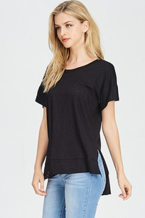 228 Black Slub Ruffled Bottom Tank