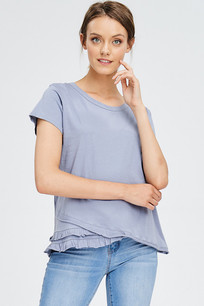 3073 Blue Black Uneven Ruffled Hem Tee