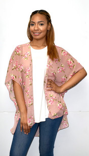 4068 Dusty Rose Floral Kimono