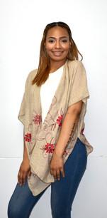 Beige Embroidered Kimono