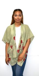 Sage Green Embroidered Kimono