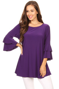 1418 Purple Ruffled Top