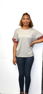 50309 Grey w/ Red Plaid Trimmed Sleeved Top
