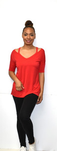 1597 Red Strapped Shoulder Top
