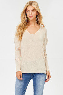 6026 Taupe Lightweight Sweater Top