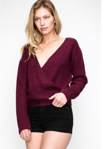 11267 Grape Overlap Crossover Sweater