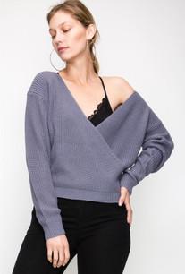 11267 Slate Blue Overlap Crossover Sweater