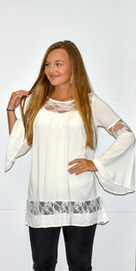 1586 White Lace Trimmed Tunic Top