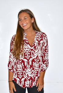 3288 Maroon Damask Blouse