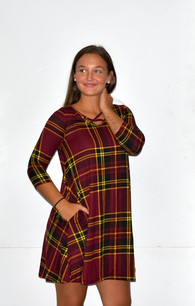 34744 Maroon Plaid Printed Pocket Dress