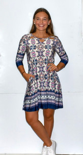 36111 Navy Beige Printed Pocket Dress
