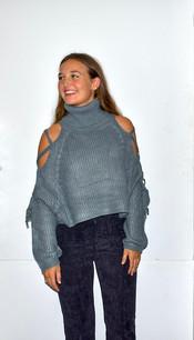 11263 Blue Knit Open Sleeve Sweater Top