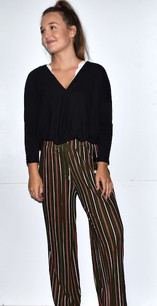 902 Olive Pleated Striped Pants