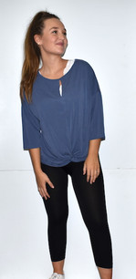17341 Denim Blue Knot Front Solid Top
