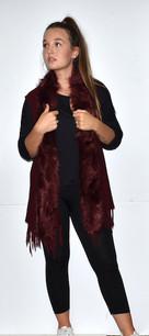 508-YV20 Burgundy Fur Trimmed Vest w/ Tassels