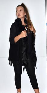 508-YV20 Black Fur Trimmed Vest w/ Tassels