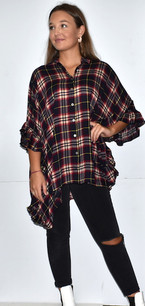 15491 Plaid Ruffled Trim Oversized Shirt