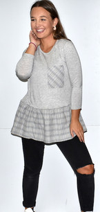 2244 Grey Plaid Bottomed Top