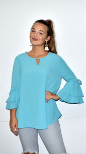 2287 Aqua Ruffled Tie Sleeve Top