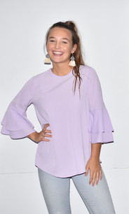 2287 Lavender Ruffled Tie Sleeve Top