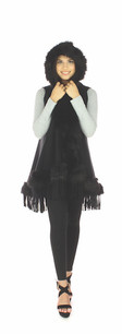 60162 Black Faux Fur Sleeveless Vest w/ Hood