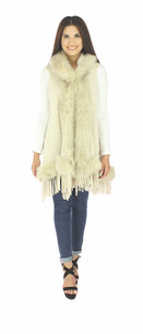 60162 Beige Faux Fur Sleeveless Vest w/ Hood
