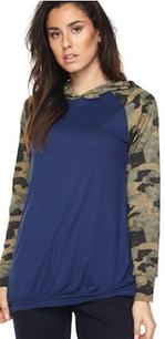 83805 Navy Camouflage Sleeved Hoodie