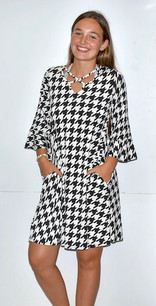 3833 Black/White Houndstooth Criss Cross Neck Dress