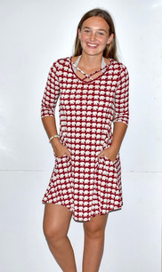 3833 Red/White Houndstooth Criss Cross Neck Dress