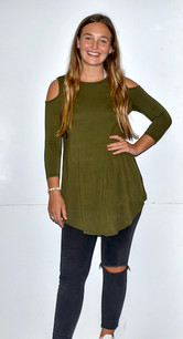 1639 Olive Cold Shoulder Top