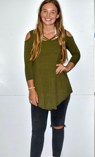 1754 Olive Criss Crossed Neck Cold Shoulder Top