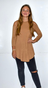 1754 Tan Criss Crossed Neck Cold Shoulder Top